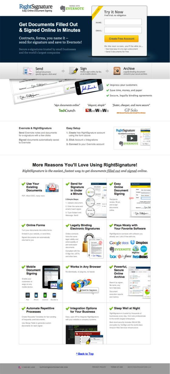 Right Signature landing page A page length test