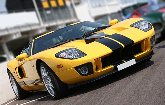 Super car at race circuit