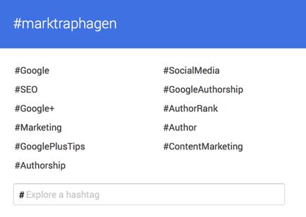 Google plus hashtag personal brand