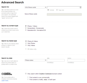 Flickr Advanced Search