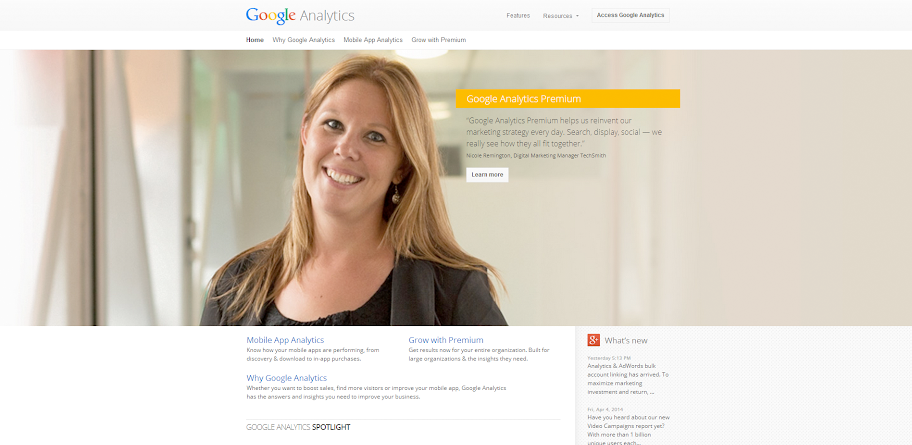 Google Analytics' Homepage