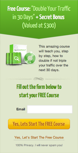 Quick Sprout's Lead Generation form