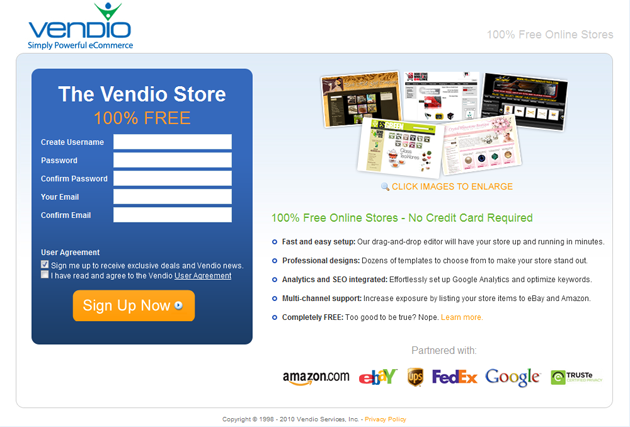 vendio sign up