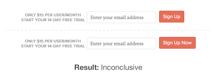 signup wording variations
