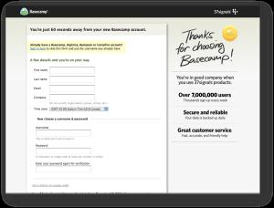 registration page reassurance