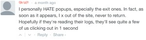 Readers views on pop ups