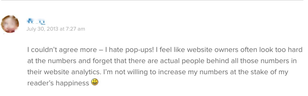 Copyblogger reader's view on pop ups