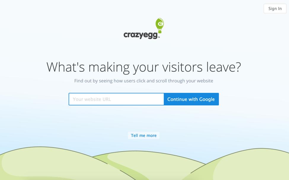 crazyegg landing page