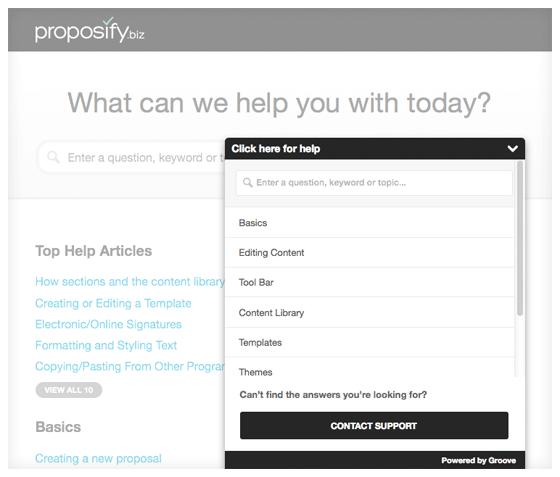 proposify-widget customer support