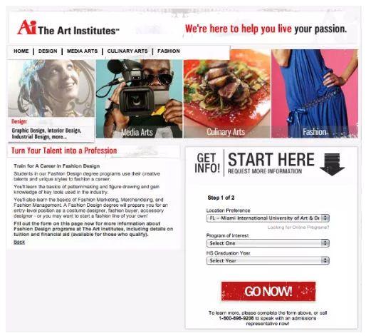 Art Institute lead generation form