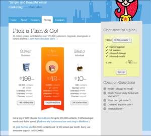 pricing page framing