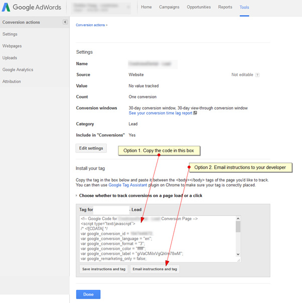google adwords conversion actions