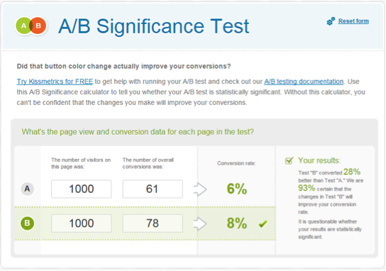 a b significance test