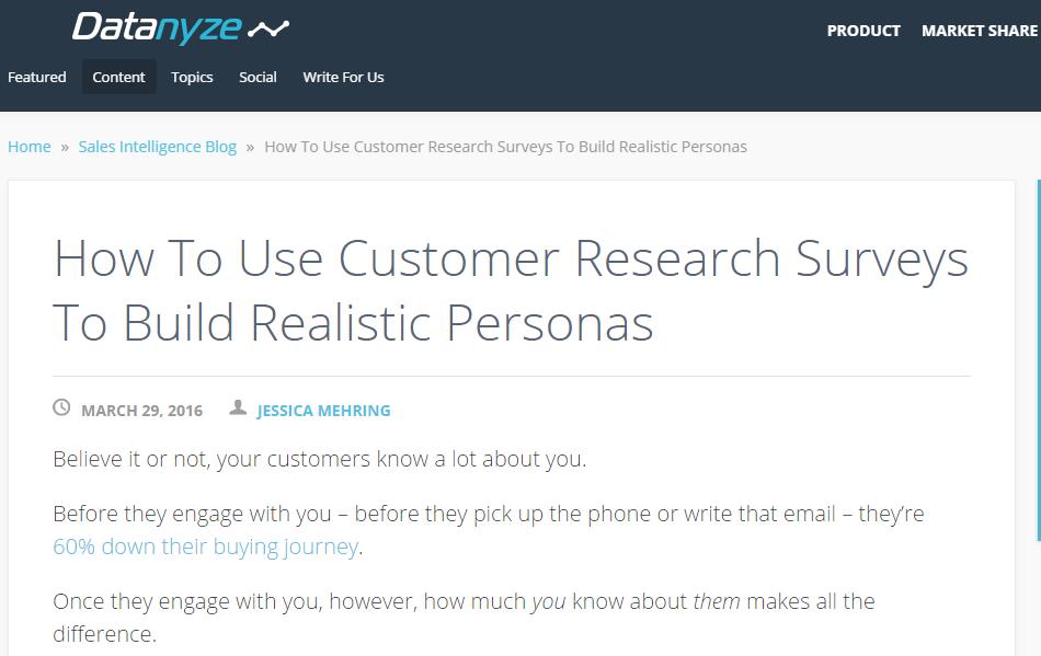 customer research personas