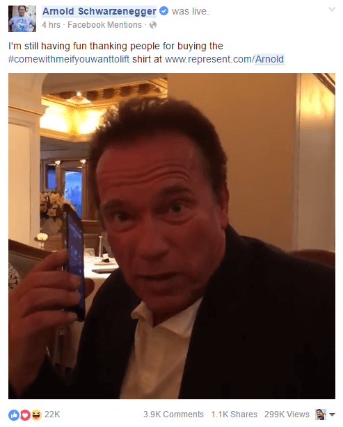 arnold schwarzenegger facebook post