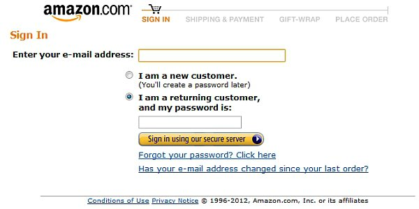 amazon sign-in page