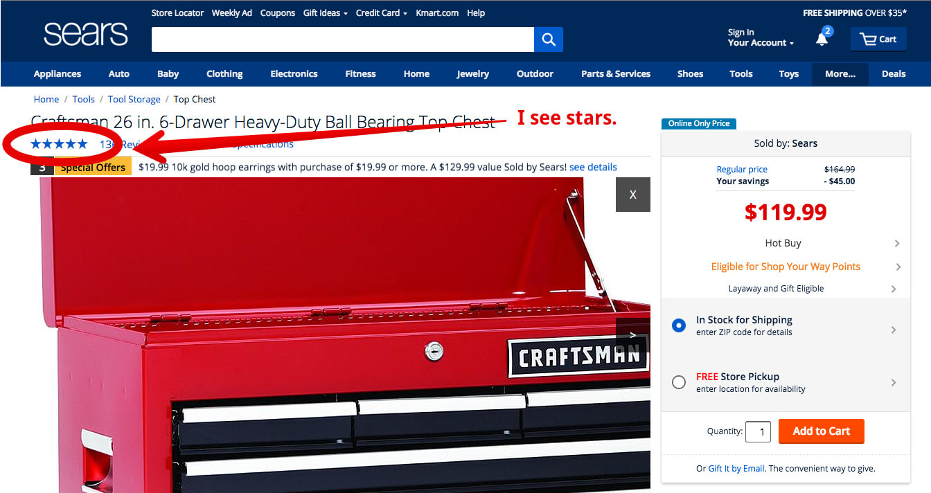 star rating example sears website