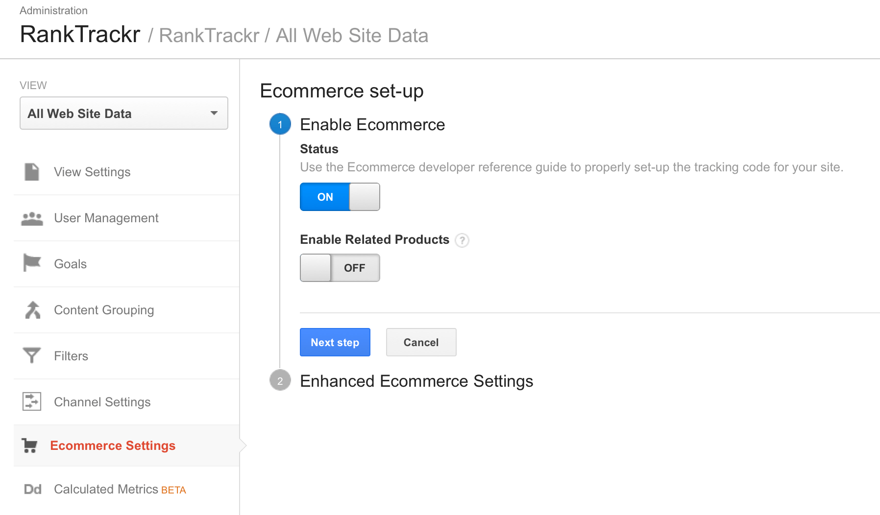 google analytics ecommerce set-up