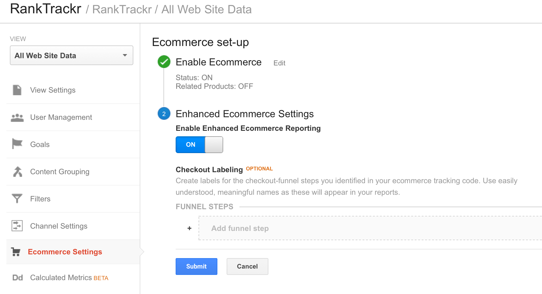 enhanced ecommerce settings