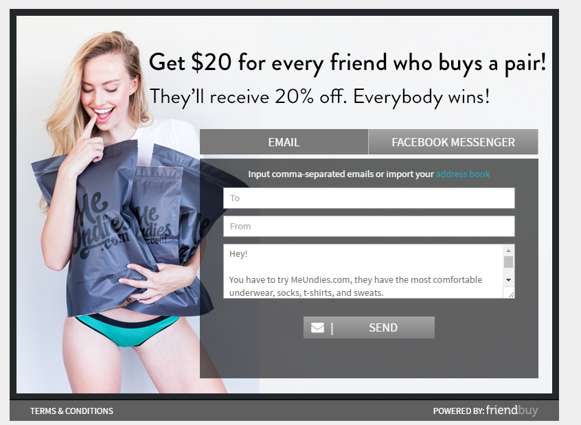 ecommerce referral marketing meundies referral