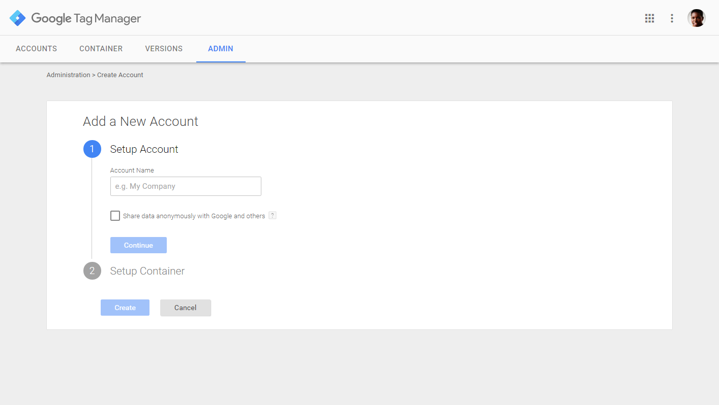 Creating a new account in Google tag manager