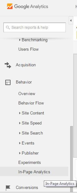 in-page analytics tab in google analytics