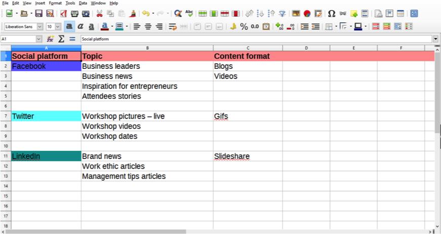 content spreadsheet