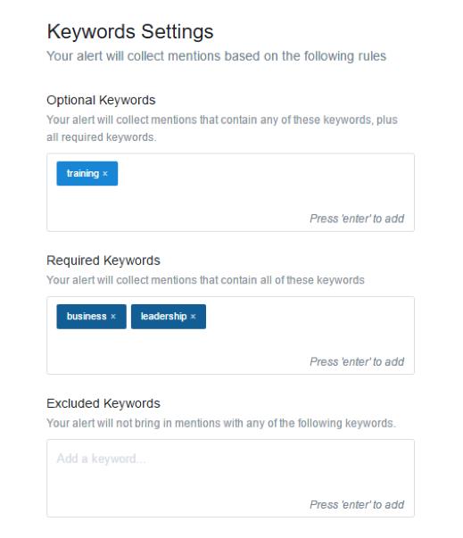 keyword settings