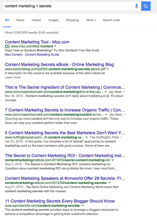 content marketing secrets google SERP