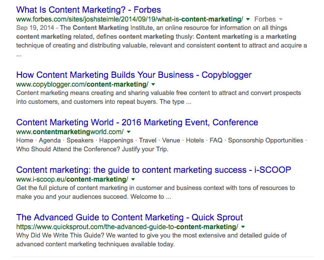 what is content marketing google search