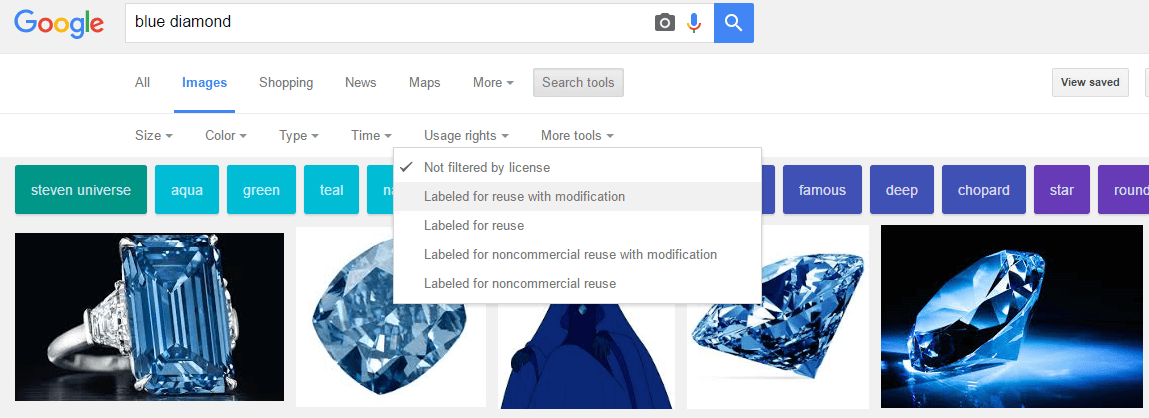 Google image reuse with modification