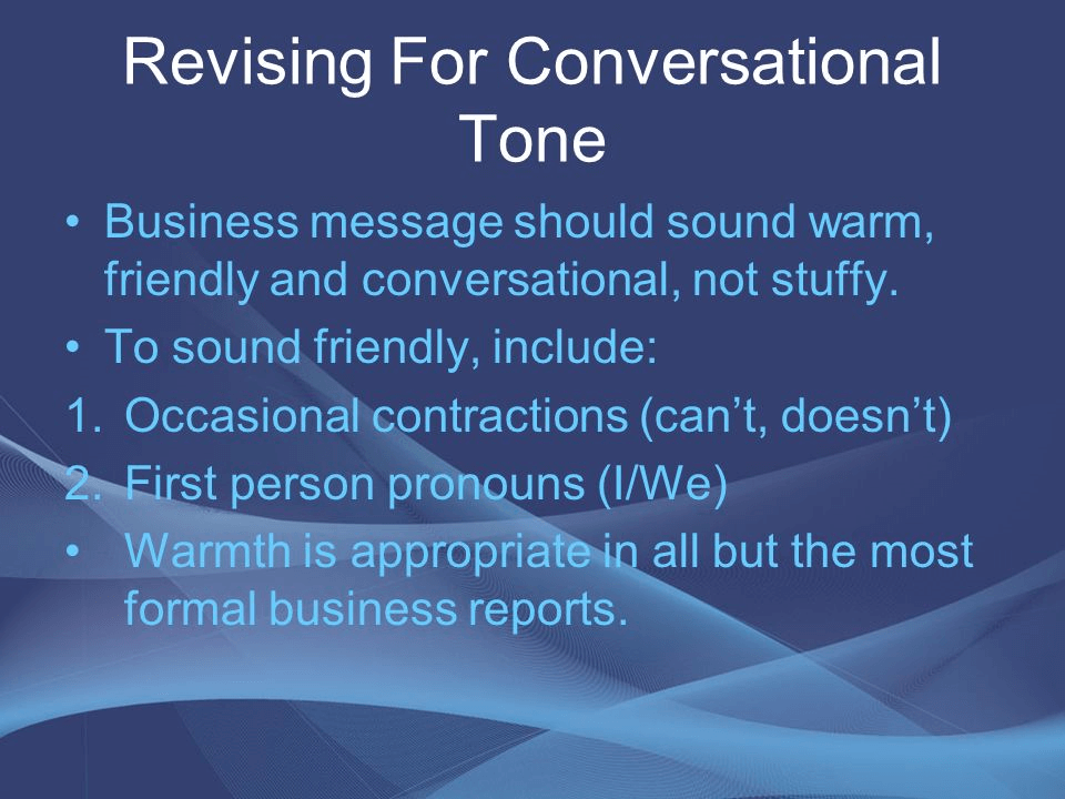 revising for conversational tone