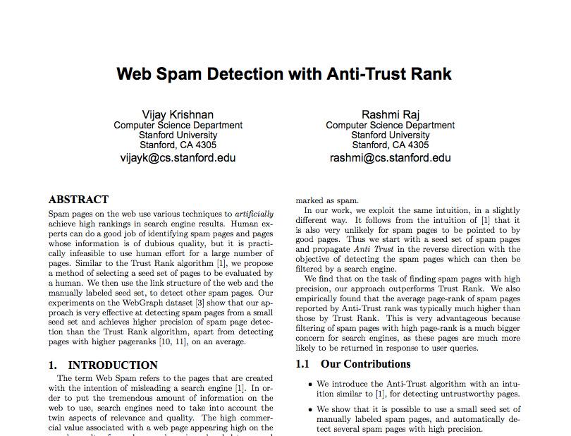 web spam study antitrust rank