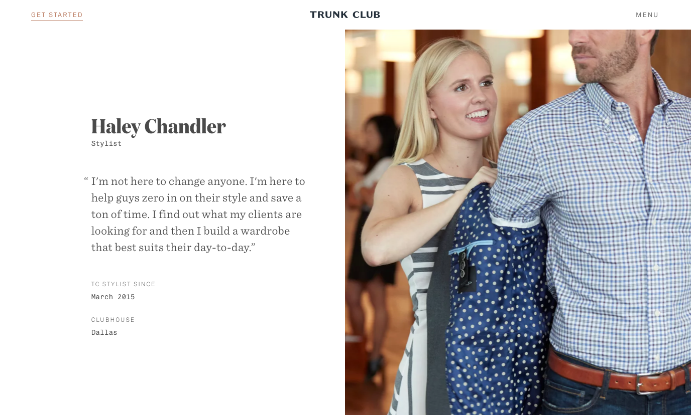 Trunk Club Boutique Personalization