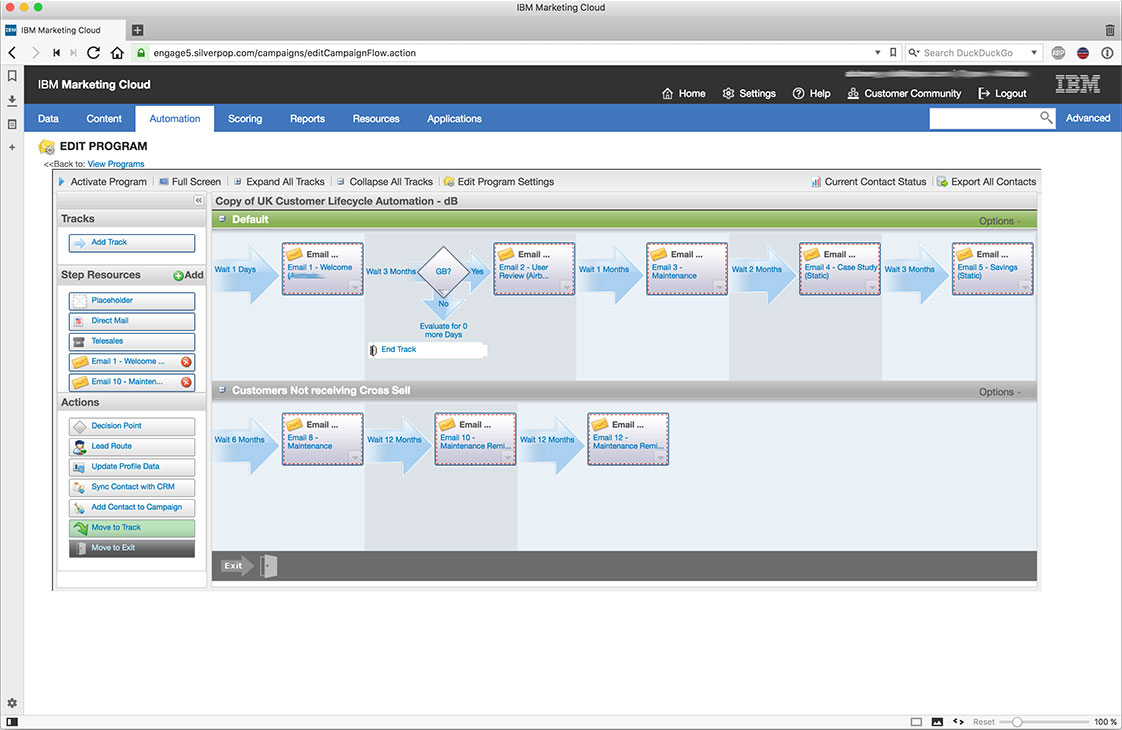 IBM marketing cloud automation