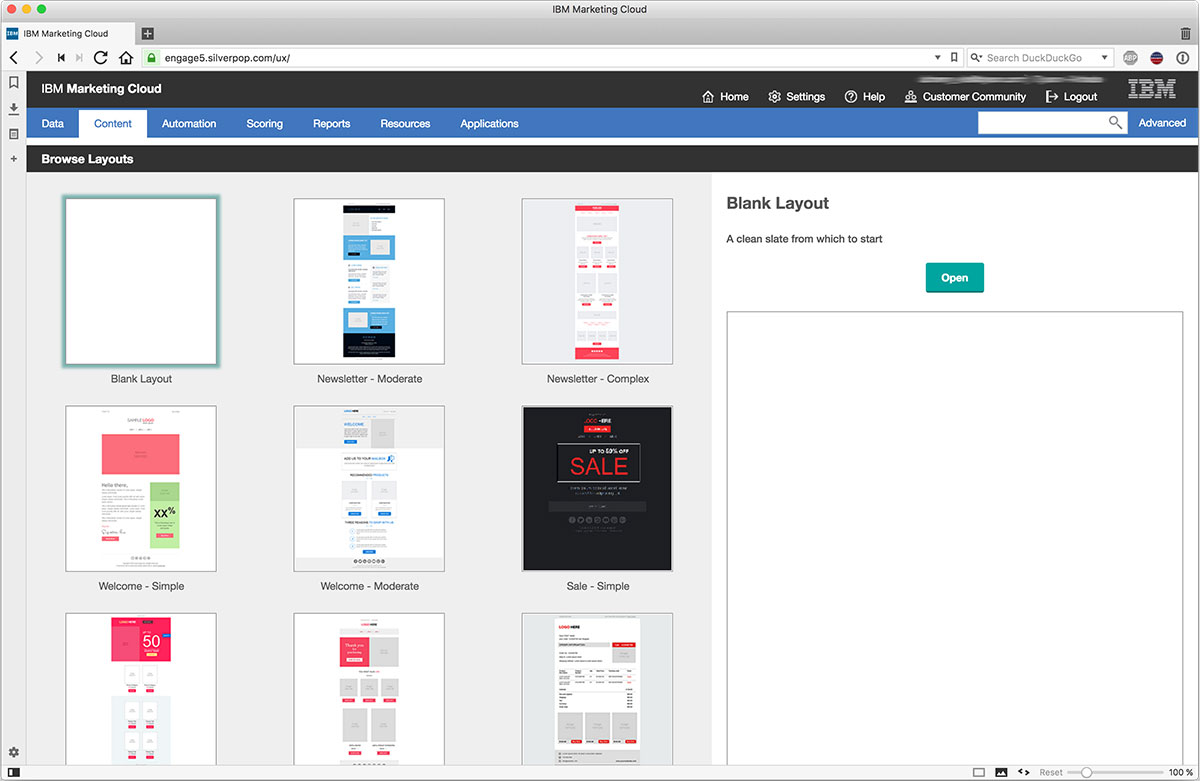 IBM marketing cloud template or HTML