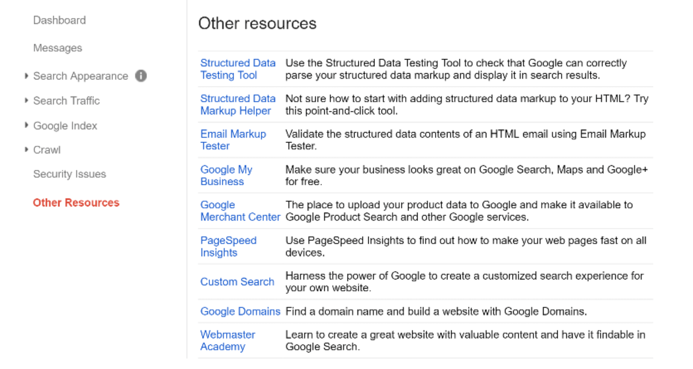 google search console resources
