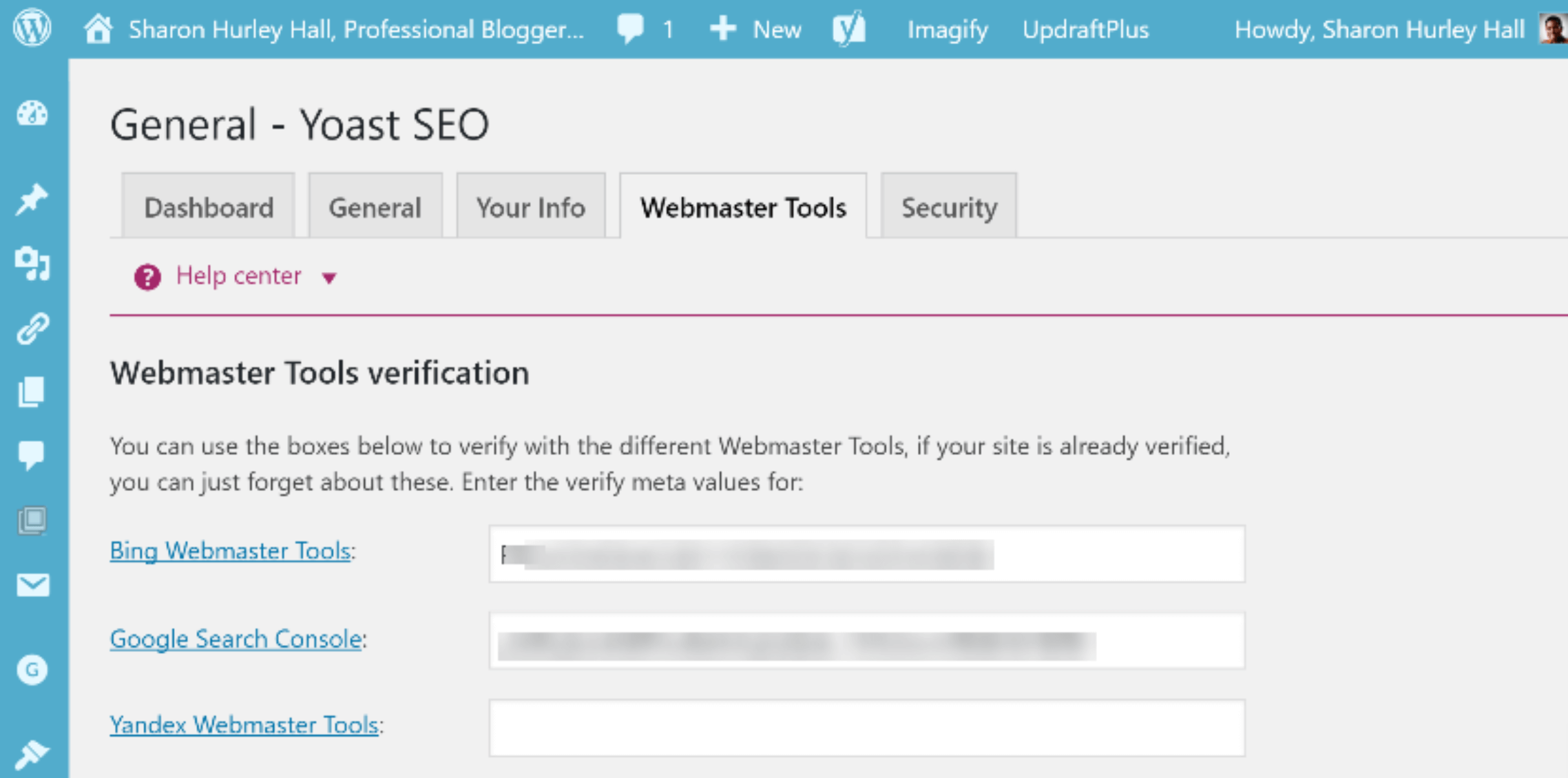 yoast search console verification