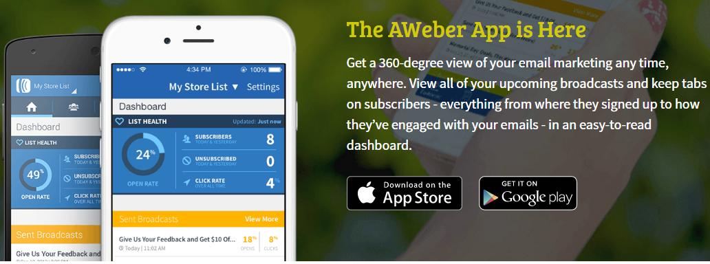 the AWeber app