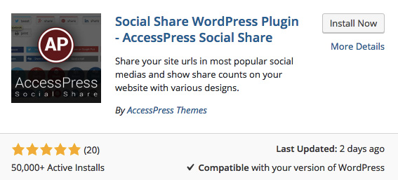 wordpress social shares