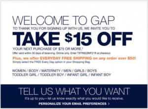 the gap coupon