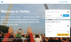 Twitter welcome page