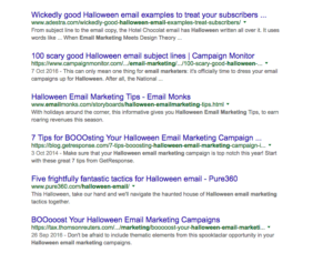 halloween email marketing SERPS competitors backlinks