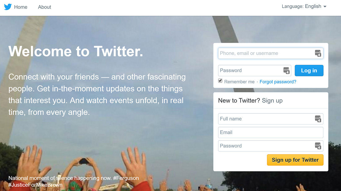 welcome to twitter homepage