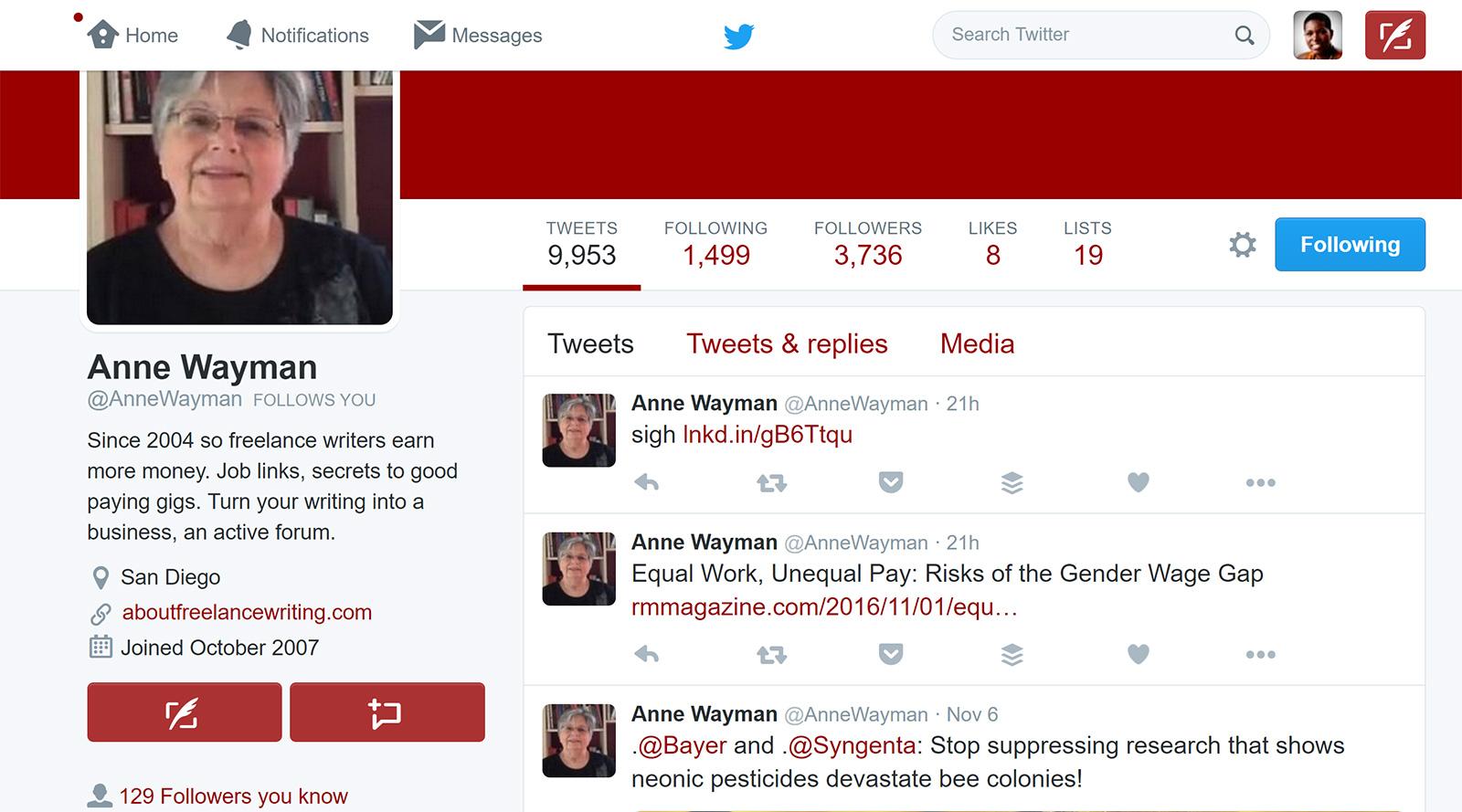 Anne Wayman send message