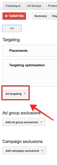 Select Ad Targeting