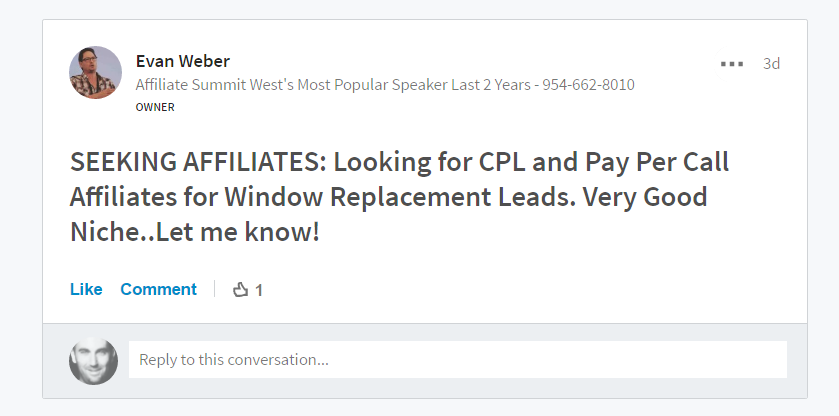 evan weber affiliate recruitment
