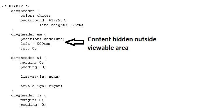content hidden outside viewable area