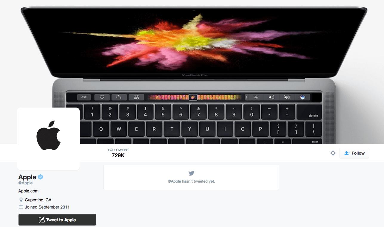 apple hasnt tweeted yet