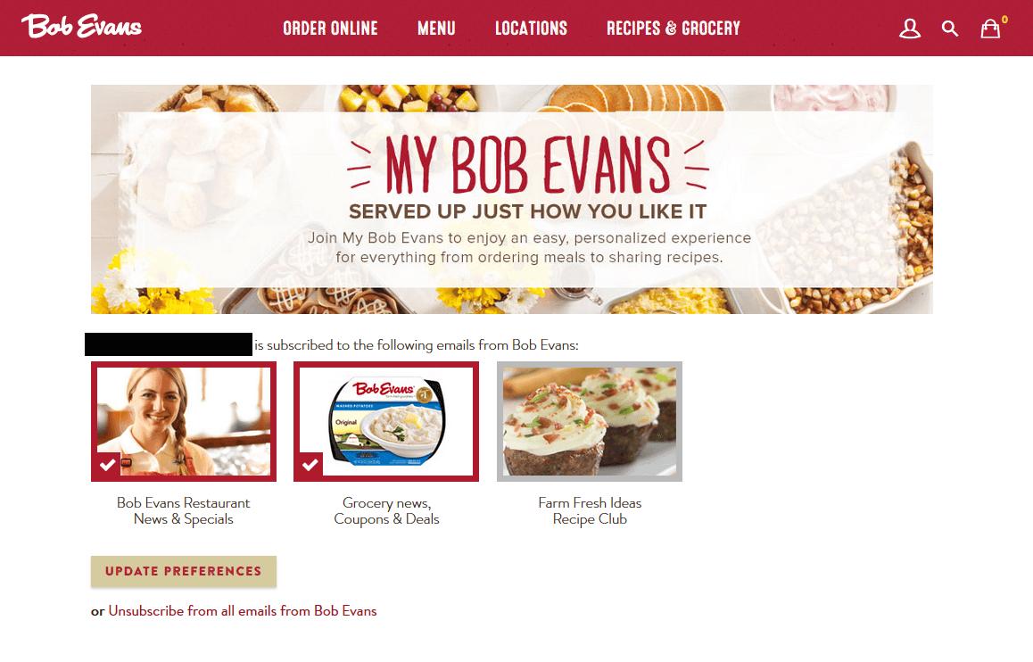 bob evans preference center